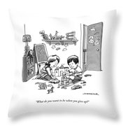 Two Children Converse While Playing With Blocks Throw Pillow