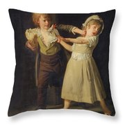 Two Children Fighting Over A Piece Of Bread Throw Pillow