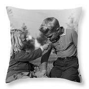 Two Children Throw Pillow by Hans Namuth