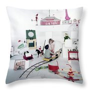 Two Children Playing With Vintage Toys Throw Pillow
