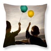 Two Children With Balloons Throw Pillow