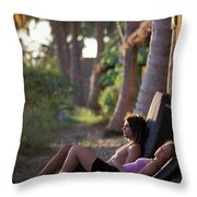 Two Climbers Sitting On Crash Pads Throw Pillow