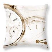 Two Clocks Throw Pillow