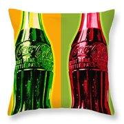 Two Coke Bottles Throw Pillow