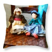 Two Colonial Rag Dolls Throw Pillow
