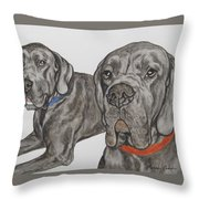 Two Cool Danes Throw Pillow
