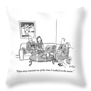 Two Couples Sit Drinking Tea In A Living Room Throw Pillow