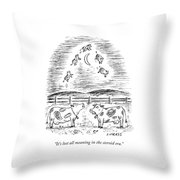 Two Cows Comment On A Bunch Of Cows Throw Pillow