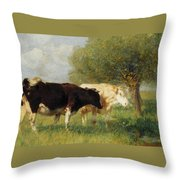 Two Cows In A Meadow Throw Pillow