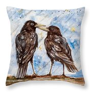 Two Crows On A Rainy Day Throw Pillow