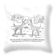 Two Deer In A Forest Are Seen In Conversation Throw Pillow by Danny Shanahan