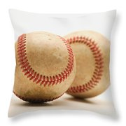Two Dirty Baseballs Throw Pillow