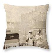 Two Edwardian Ladies Crossing A Cobbled Street Throw Pillow