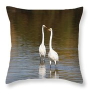 Two Egrets In The Pond Throw Pillow