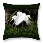 Two Egrets Throw Pillow