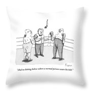 Two Elderly Men Meet In A Boxing Ring Throw Pillow