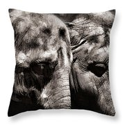 Two Elephants Throw Pillow