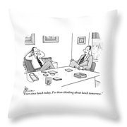 Two Executives In Suits Sit At A Business Table Throw Pillow