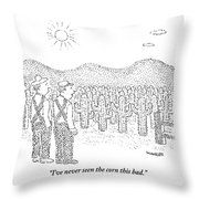 Two Farmers Stand By A Tractor Throw Pillow