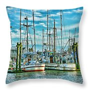Two Fishing Boats Hdr Throw Pillow