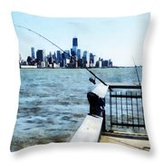 Two Fishing Poles Throw Pillow