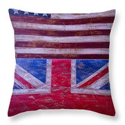 Two Flags American And British Throw Pillow
