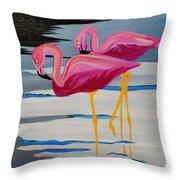 Two Flamingo's In Acrylic Throw Pillow