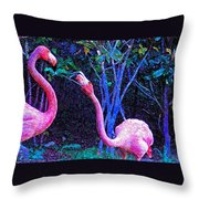 Two Flamingos Throw Pillow