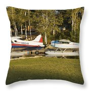 Two Float Planes On Moosehead Lake Near Greenville Maine  Throw Pillow