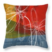 Two Flowers Throw Pillow by Linda Woods