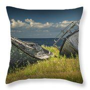 Two Forlorn Abandoned Boats On Prince Edward Island Throw Pillow