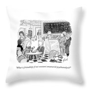 Two Friends Sit At A Coffee Shop Throw Pillow by Tom Toro