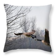 Two Geese In Flight Throw Pillow