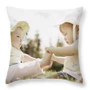 Two Girls Sit Together Throw Pillow
