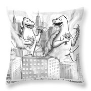 Two Godzillas Talk To Each Other Throw Pillow