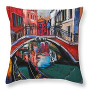 Two Gondolas In Venice Throw Pillow