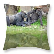 Two Gorillas Relaxing II Throw Pillow