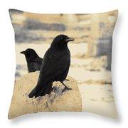 Two Graveyard Blackbirds Throw Pillow