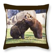 Two Grizzly Bears Ursus Arctos Play Fighting Throw Pillow