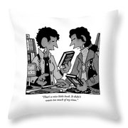 Two Guys Discuss The Value Of Books At A Library Throw Pillow