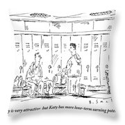 Two Guys Talk About Girls In The Locker Room Throw Pillow