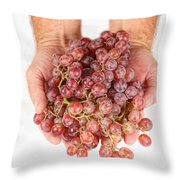Two Handfuls Of Red Grapes Throw Pillow
