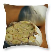 Two Heads Of Garlic Throw Pillow