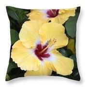 Two Hibiscus Throw Pillow