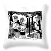 Two Hikers Looking At A Map Are Seen Speaking Throw Pillow