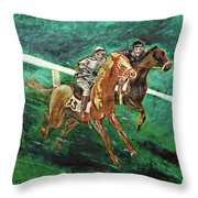 Two Horse Race Throw Pillow