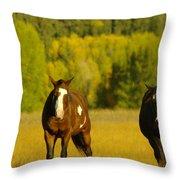 Two Horses Walking Along Throw Pillow