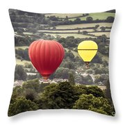Two Hot Air Baloons Drifting Throw Pillow