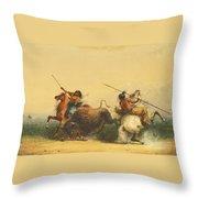 Two Indians Killing A Buffalo Throw Pillow