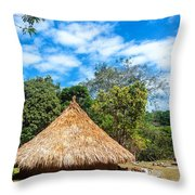 Two Indigenous Huts Throw Pillow
